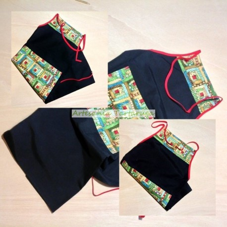 Handmade kitchen apron with Christmas fabric