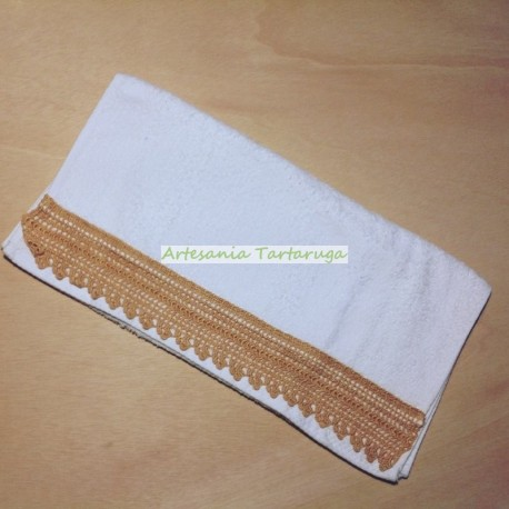 White towel with crochet