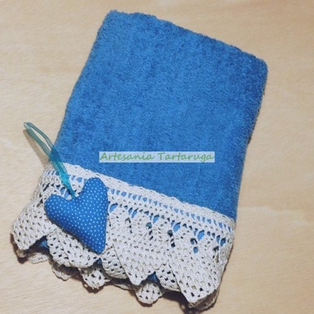 Blue towel with crochet