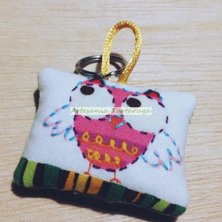 Pink owl key chain