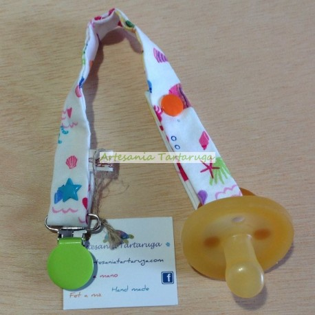 Handmade pacifier clip with sea print