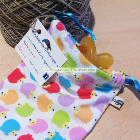 Pacifier bag with colorful hedgehog