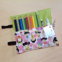 Folding pencil case with kokeshis