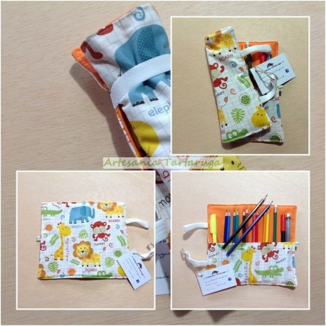Folding pencil case with jungle animals