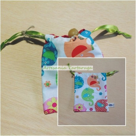 Handmade pacifier bag with elephants
