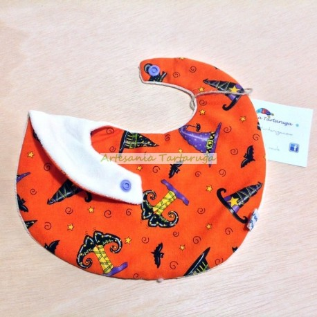 Handmade newborn bib with Halloween fabric