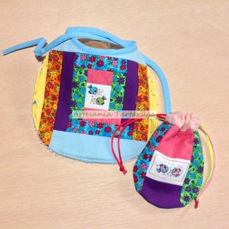 Newborn bib and pacifier bag with cross stich