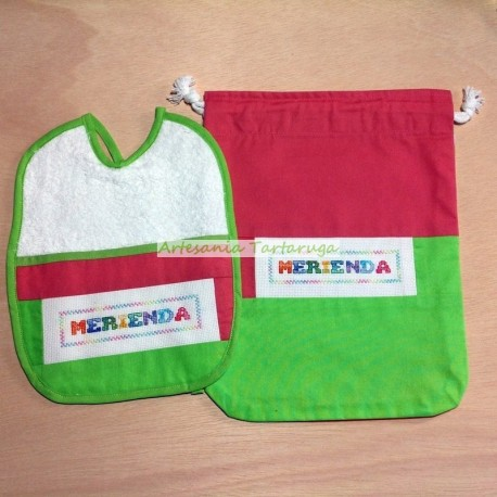 Large bib and snack bag cross stitch