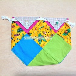 Handmade patchwork snack bag with bugs