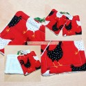 Potholders with roosters