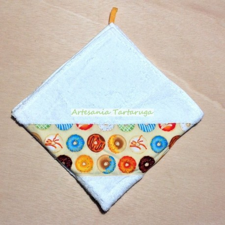 Handmade dishcloth with colorful donuts