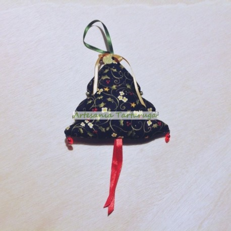 Christmas tree hanging made of printed black fabric