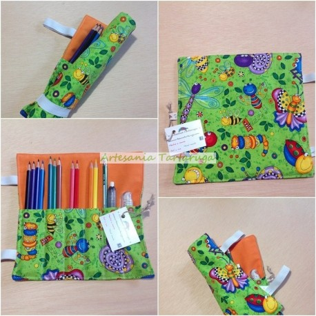 Folding pencil case with bugs