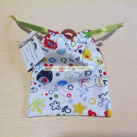 Handmade pacifier cloth bag with marine print