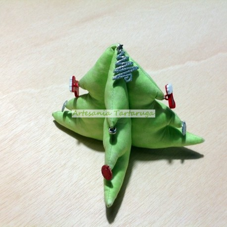 Handmade Christmas tree made of green fabric