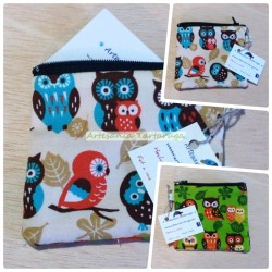 Porta coins whit printed fabric with owls