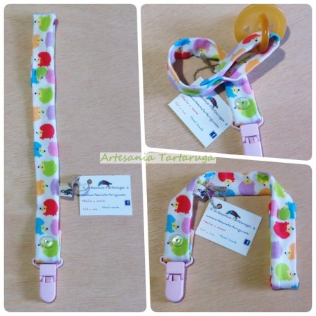 Handmade pacifier clip with colorful hedgehogs