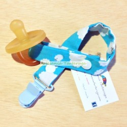 Handmade pacifier clip with sheep print