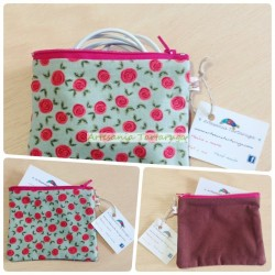 Porta coins whit printed fabric with roses