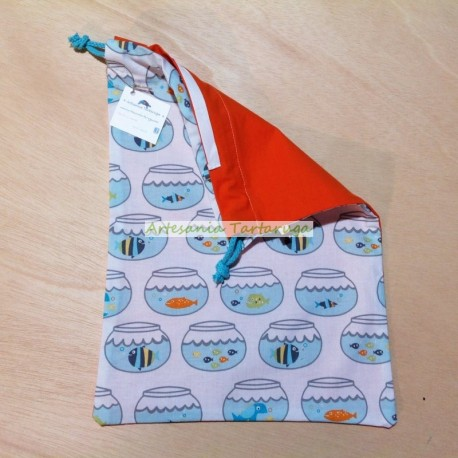 Laundry bag with colorful fish