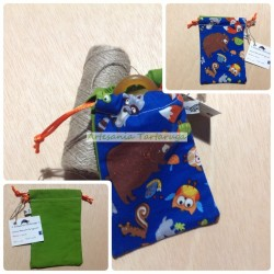 Pacifier bag with turtle, bear, snail,...