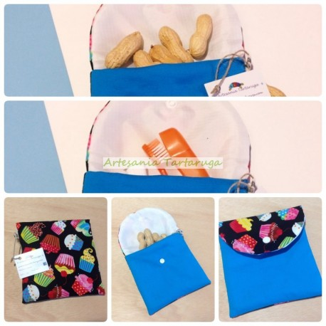 Handmade plastic bag with printed cupcakes fabric