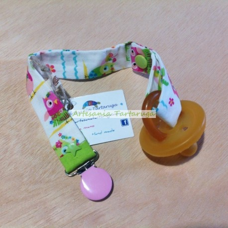 Handmade pacifier clip with owls print