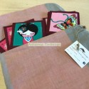 Portable memory made of felt and fabric with oriental print