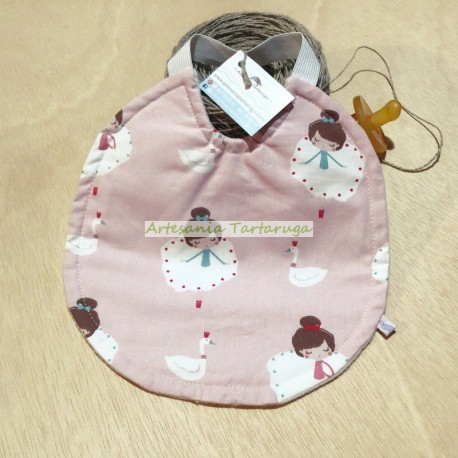 Handamade medium bib with plastic towel and elastic band