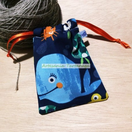 Handamde pacifier bag with sea animals