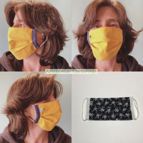 Printed fabric face mask for adults