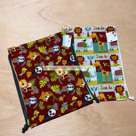 Children's Schoolbags in fabric printed with jungle animals