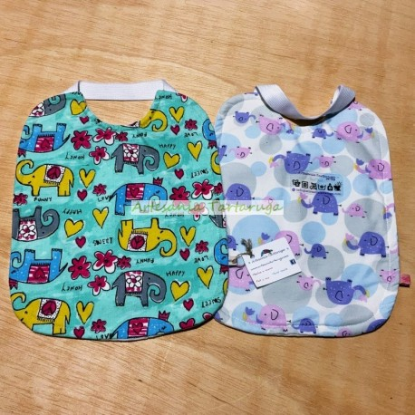 Handmade large bib with plastic towel and elastic band