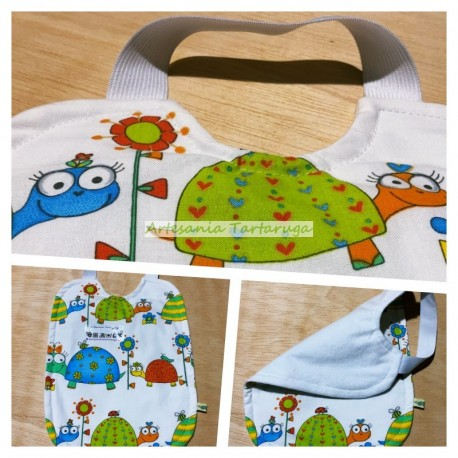 Handmade bib with plastic towel and elastic band