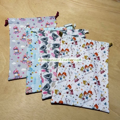 Handmade plasticized laundry bags for nursery