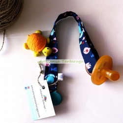Handmade pacifier clip with colorful fish